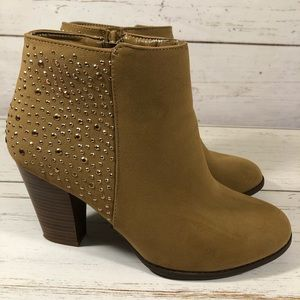 """SBICCA Women's Brown Booties Size 9.5 """"Shiny"""""""